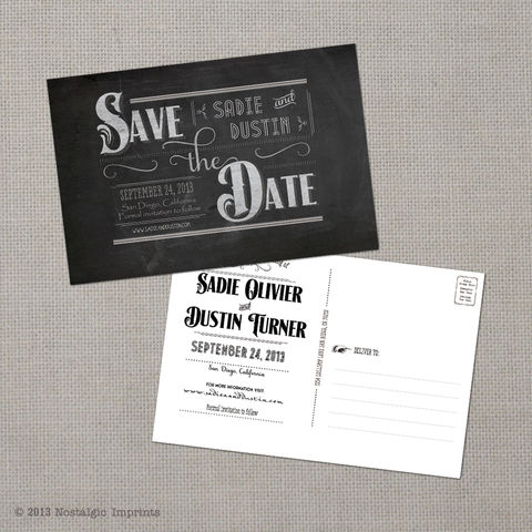 Sadie,-,4x6,Chalkboard,Save,the,Date,Postcard,vintage save the date, Weddings, Card, save the date, custom photo card, photo save the date card, photo card, vintage card, 4x6, postcard, post card, retro