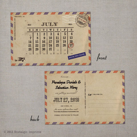 Airmail,3,-,Save,the,Date,Postcard,vintage save the date, Weddings, Card, save the date, custom photo card, photo save the date card, photo card, vintage card, 4x6, postcard, post card, retro