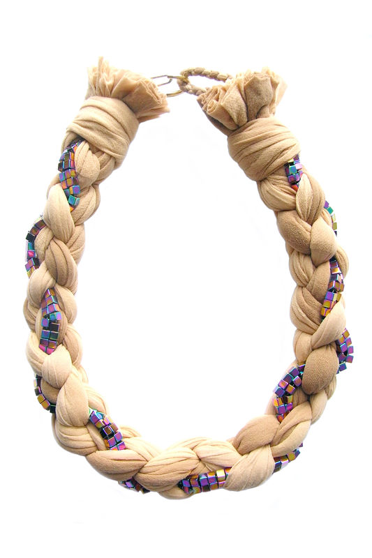 'Purple Bamboo' nude braided necklace with hematine - product images