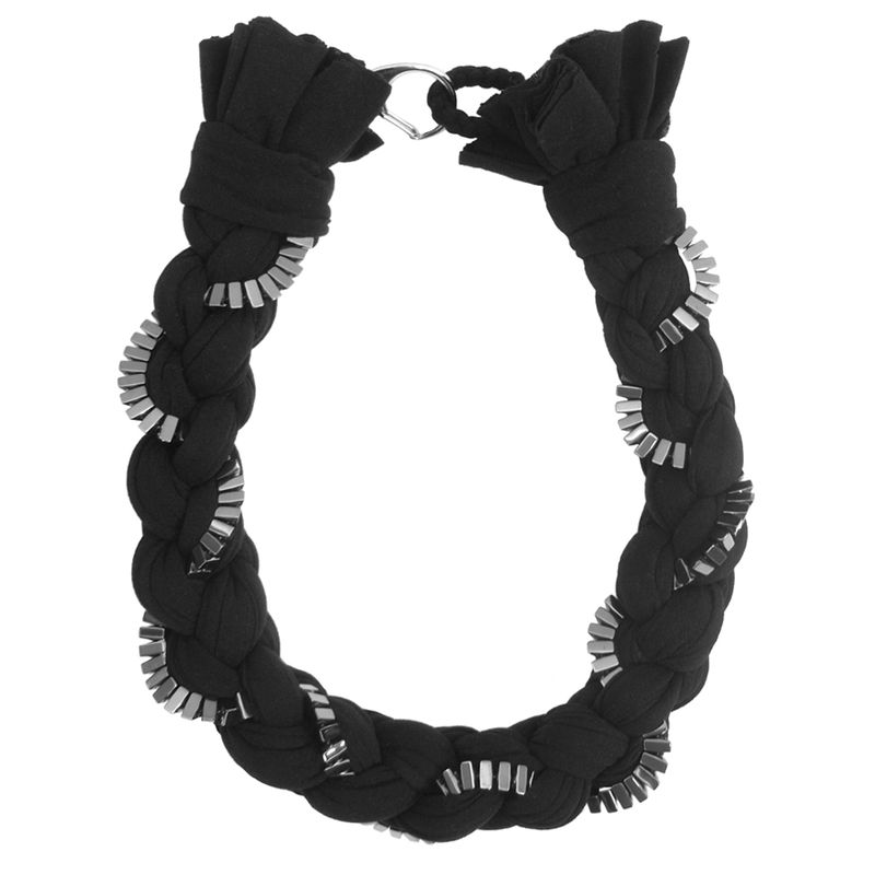 Black 'Mercury' braided necklace with hematine - product images