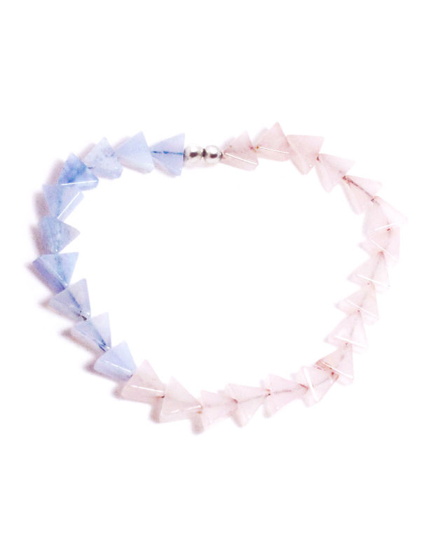 'Lucid Waters' bracelet with rose quartz and blue lace agate - product images