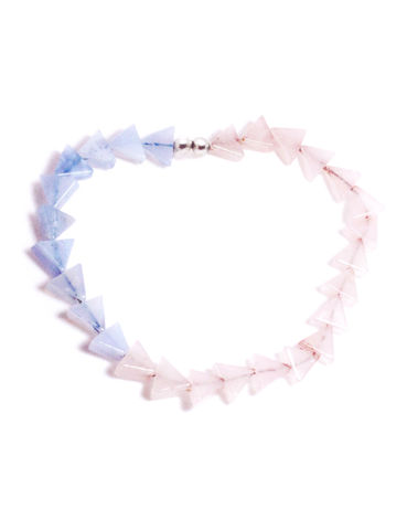 'Lucid,Waters',bracelet,with,rose,quartz,and,blue,lace,agate,handmade jewellery, designer jewellery, beaded jewellery, semi-precious jewellery