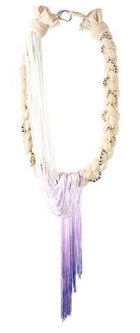 'Tomoe',braided,necklace,with,lilac,dip-dyed,fringing,handmade jewellery, designer jewellery, tights jewellery, fringed jewellery, fringed necklace, dip-dyed jewellery