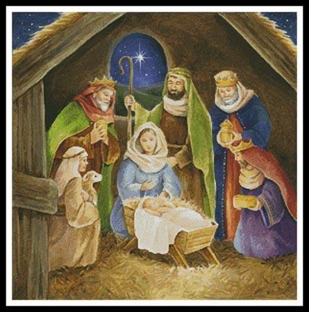Simple Nativity Painting Nativity painting cross stitch pattern ...