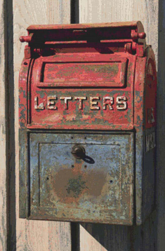 Vintage mailbox cross stitch pattern x squared cross stitch