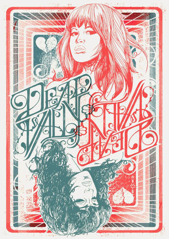Queens,of,the,Broken,Hearts,risograph, limited edition, print, art print, deap vally, gig posters