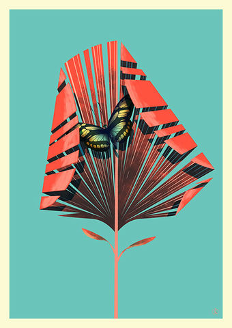 The,Red,Palm,Giclée Print, Art Print,  Guy Mckinley Print, Colour, Botanicals, Leaves, Flora, Fauna, Palm,