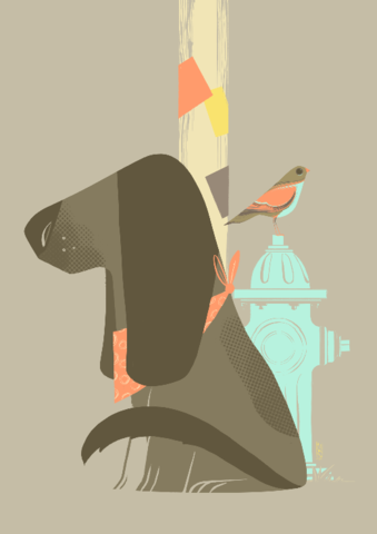 Outside,Lou,Giclée Print, Art Print,  Guy Mckinley Print, Colour, Dogs, Birds, Hydrant