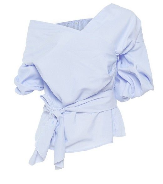 Off Shoulder Puff Sleeves Wrap Blouse - product images  of