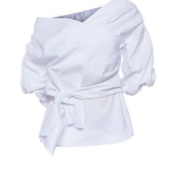 (PREORDER) Off Shoulder Puff Sleeves Wrap Blouse - product images  of