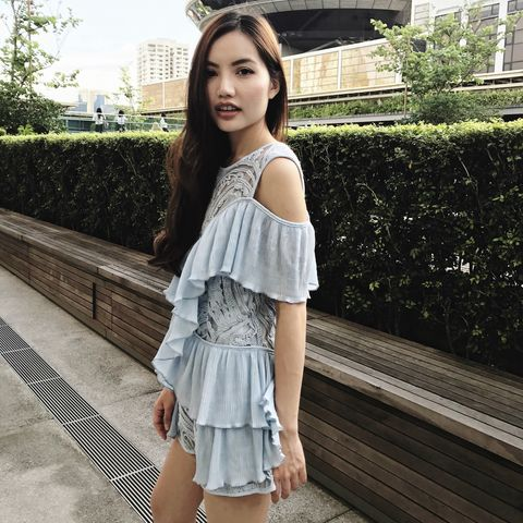 (PREORDER),Pastel,Blue,Sheer,Mesh,Embroidered,Playsuit,ruffles, playsuit, shopping, online shopping, singapore, jumpsuit