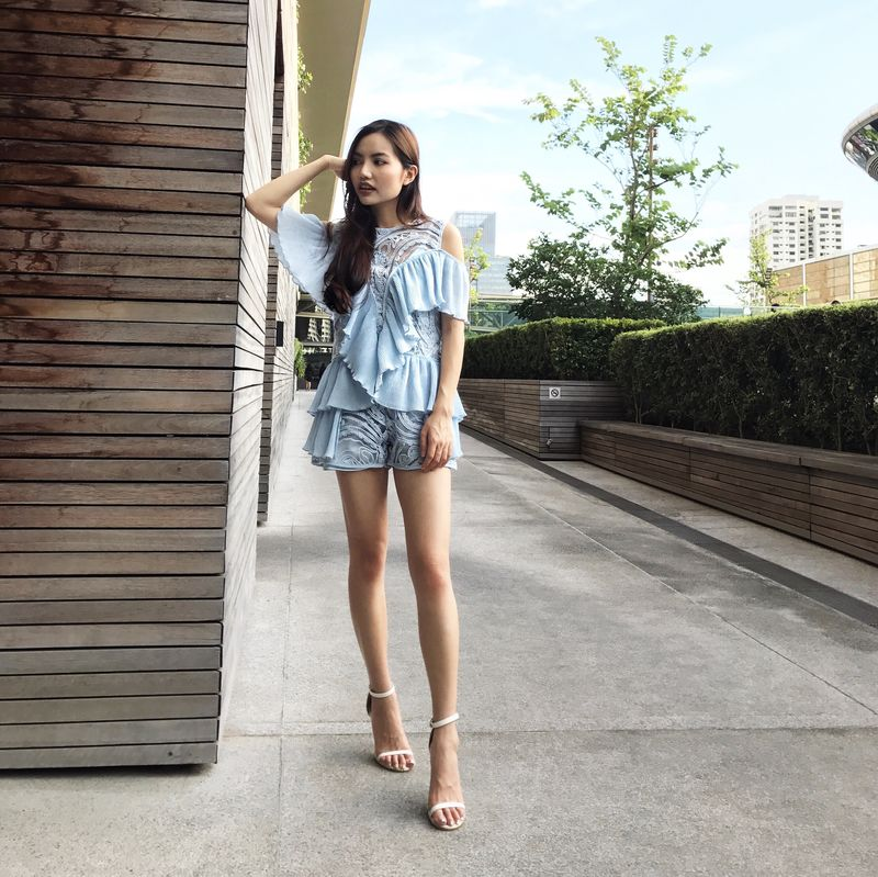(PREORDER) Pastel Blue Sheer Mesh Embroidered Playsuit - product images  of