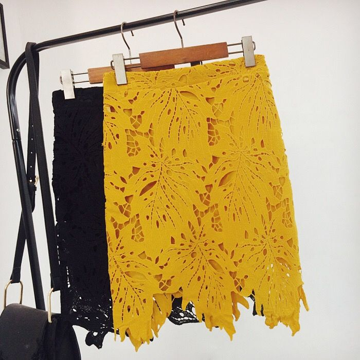 Yellow Laser Cut Lace Skirt - product images  of