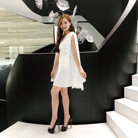 White,Cape,Dress