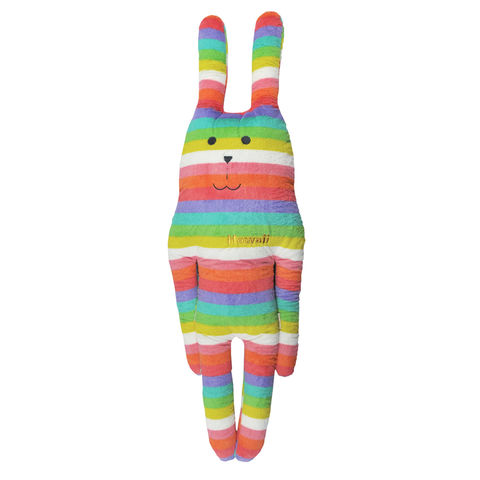 Hawaii,Rab,Hug,cushion,(X,Large),multi colour, soft toy, rabbit, bunny, rab, hawaii, rainbow, colourful, stripy, japanese, cute, plush, toy, soft, huggable, pillow, pastel, home decor, fun, adorable, harlequin, cushion, hug, gift