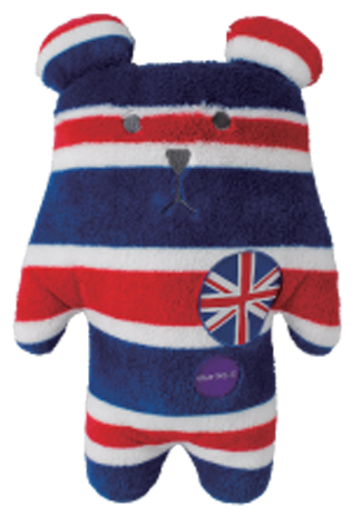 Rock,Sloth,Bear,Hug,Cushion,(Medium),great britain, union jack, red blue, white, rock, bear, sloth, accent, peace, love, cute, fun, japanese, holiday, vacation, craftholic, craft, plush, soft toy, plain, soft, polyester, kids, children, travel, britain, england, teddy, scotland, souv