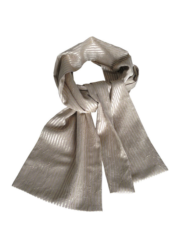 Gold Stripe Silk Scarf - product images