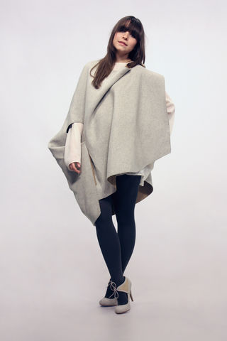 Gravitas,Poncho, Grey Poncho, Autumn Winter 2011/12, 100% wool poncho, camel wool, melton wool cape, melton wool jacket, black melton wool, bespoke poncho, bespoke cape, black cape, camel cape, white cape