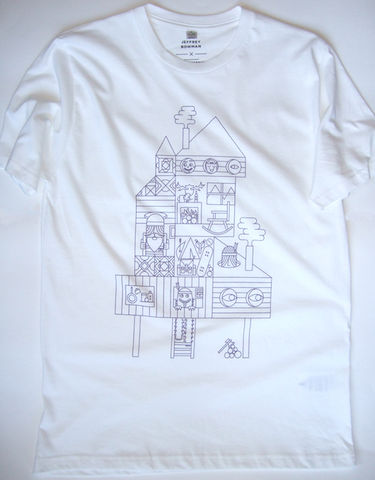 'Cabin,Times',t-shirt, cabin, woods, snowboard, Jeffrey Bowman, illustration, limited edition, handmade, screen printed
