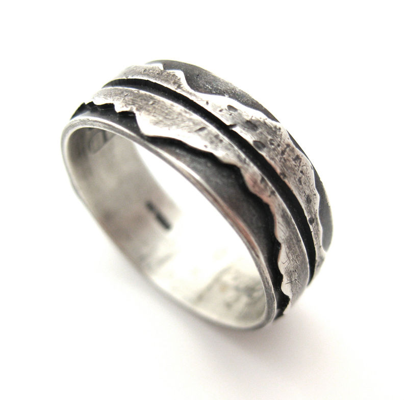 mountain reflection rustic sterling silver ring product