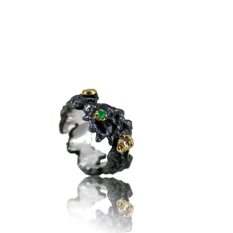 Scoria Ring with natural emerald - product images  of