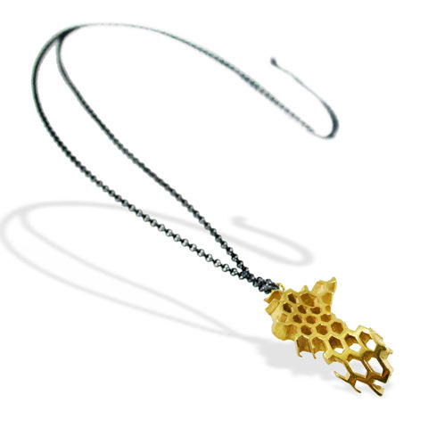 II,Honeycomb,Necklace,honeycomb colier, necklace, pendant, art, jewellery, silver, gold plated, sterling silver, artistic, contemporary jewellery, big necklace, fashion jewellery