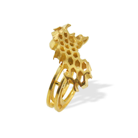 II,Honeycomb,Ring,gold, ring, artisan, jewellery, handmade, honeycomb, unique, art jewellery
