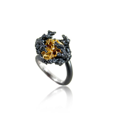 Naphtha,Tall,Ring,naphta , ring, silver, volcano, black, gold