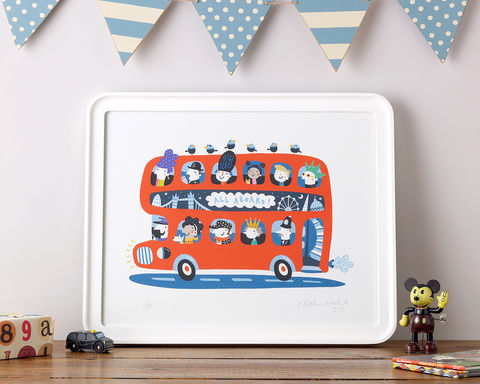 All,aboard!,Rootytoot, Nathan Reed, limited edition, giclee print, London bus, Jubilee, soldier,iconic, fun, perfect gift, christening gift