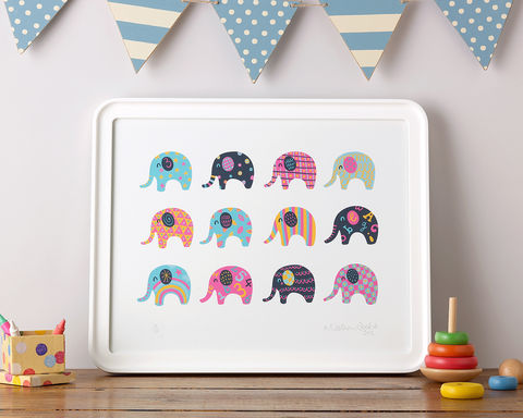 Pink,elephants,and,lemonade!, giclee print,nursery prints, gifts for her, baby gifts, nathan reed, illustrator, rootytoot