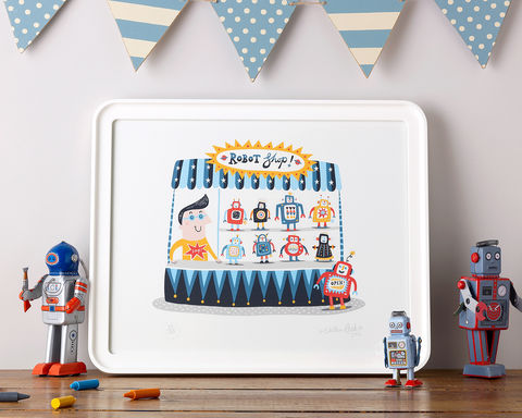 Zap!,Pop-up,Robot,Shop,Rootytoot, Nathan Reed, limited edition, giclee print, robots, nursery, children's bedroom