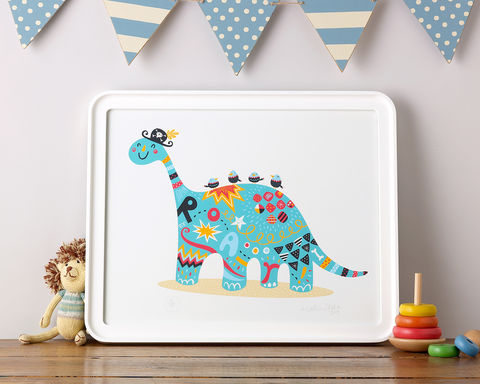 ROARRRR!,Rootytoot, Nathan Reed, limited edition, giclee print, dinosaur, pirate, nursery, children's bedroom