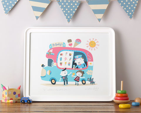 Mr,Rooty's,Ice-cream,Van,Rootytoot, Nathan Reed, limited edition, giclee print, ice cream van, yummy, nursery, children's bedroom