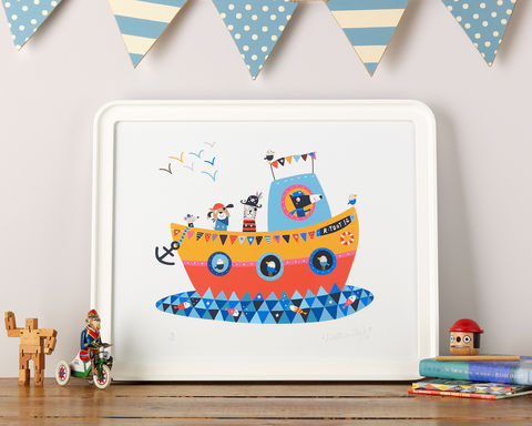 We,are,Sailing!,Boats, Kids prints, Giclee prints for children, Limited Edition Prints, Pirates, Giclee print, Rootytoot boat, Rootytoot