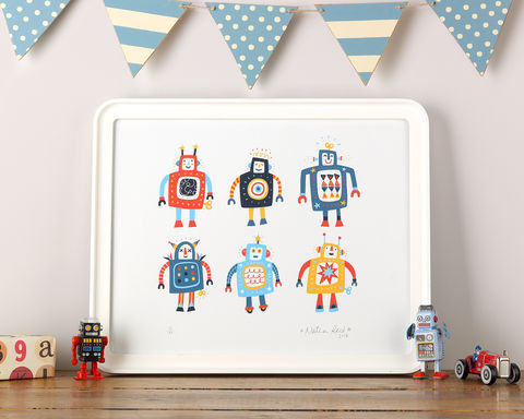 Rootytoot,Robots!,Robots, Limited Edition Prints, Big robots, Robot Print, Rootytoot Robots, Prints for children, Nursery prints