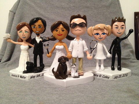 Mjj,Cake,Toppers,Miis, Nintendo, Wii, Mii, custom, sculpture, Wedding, cake topper