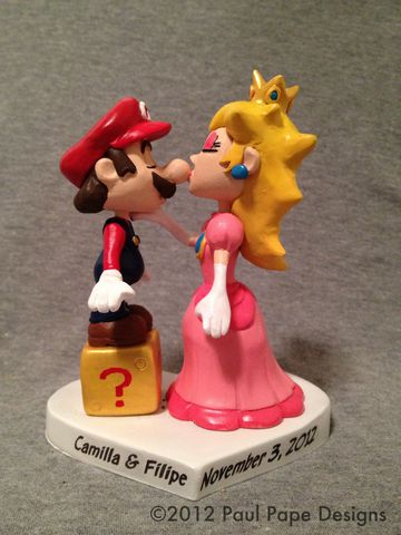 Mario,&,Princess,Peach,Cake,Topper,Super Mario, Princess Peach, wedding, cake topper, custom,