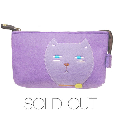 Ms,Violet,Kitty,pouch,felt pouch, cat , purple