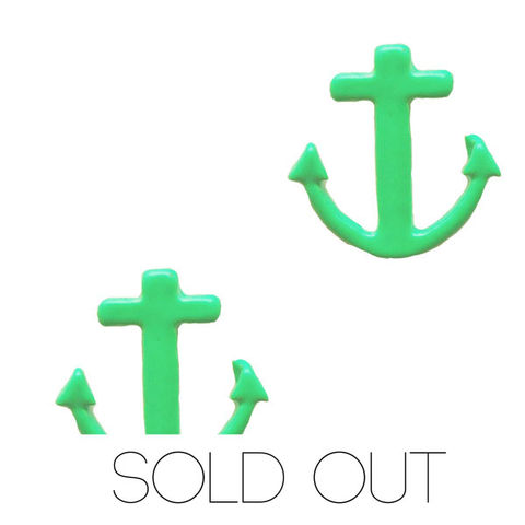 Neon,Anchor,Earring,-,Green