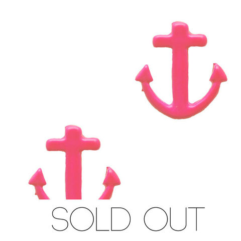 Neon,Anchor,Earring,-,Pink