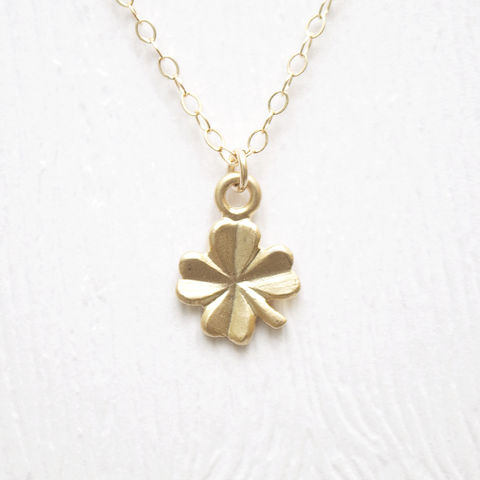 Petite,Gold,Clover,Necklace