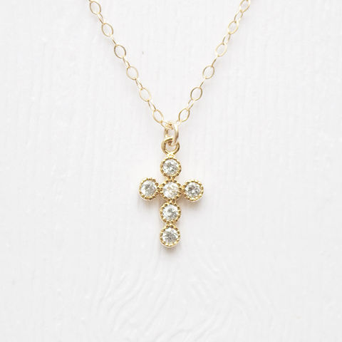 Jewel,Cross,Necklace,cross necklace diamond gold goldfilled treenbee singapore