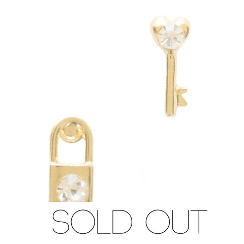 Lock,&,Key,earring,set,in,Gold