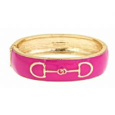 Bit,Bangle,(6,color,choices),Enamel Hinge Bangle with Gold Horse Bit Detail Equestrian Jewelry