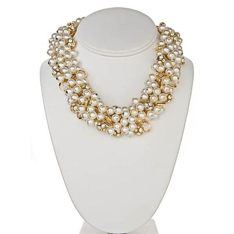 PARK,AVENUE,NECKLACE,Pearl necklace with crystal and rhinestone ball accents. park avenue collection.This stunning necklace was even featured in Brides Magazine!