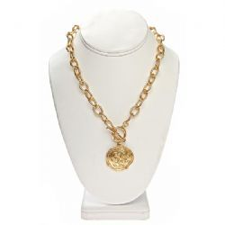 COIN,NECKLACE,gold Coin Necklace is imprinted with an unusual design to give it a Grecian look