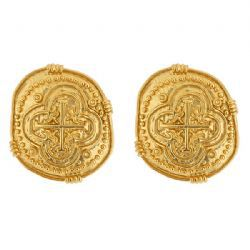 COIN,EARRINGS,gold Coin EARRINGS is imprinted with an unusual design to give it a Grecian look