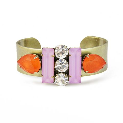 Petra,Cuff,in,Tangerine/Orchid,petra cuff bracelet statement, j. crew, loren hope, made in the usa