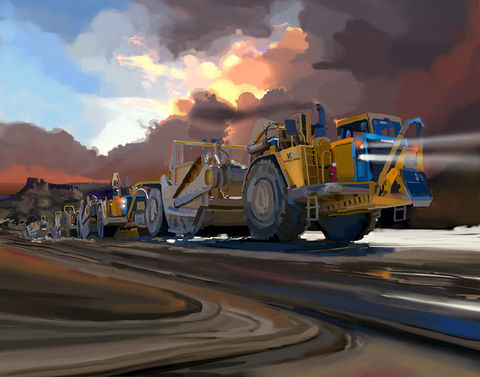 Caterpillar,Scrapers,Construction equipment art,brad burns,caterpillar,caterpillar paintings,construction equipment artist,heavy equipment art,Concrete art,scraper art,dozer art,loaderart,excavator art,backhoe painting, compactor paintings,truck paintings,gomaco ghp-2800 slip