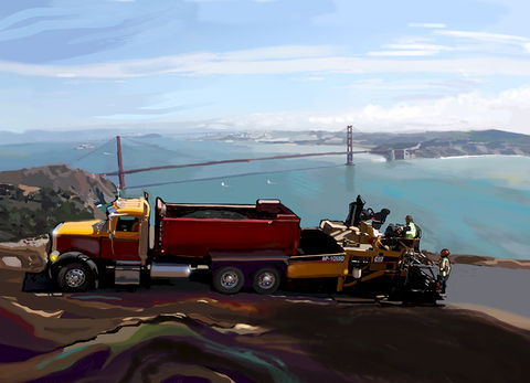 Bay,Area,Asphalt,Team,Golden Gate,asphalt,construction,caterpillar,caterpillar scraper,heavy equipment, paving, highway construction, road gang, utility work, heavy equipment, , steam roller, shovel,pipe, abstract, america, trenches, catapillar,catapiller
